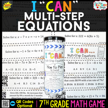7th Grade Multi Step Equations Game - 7th Grade Math Game
