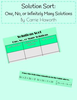Multi Step Equations Solutions Sort