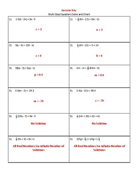 Multi-Step Equations Solve and Check (Differentiated)