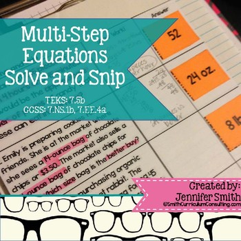 Multi-Step Equations Solve and Snip® Interactive Word Problems