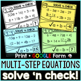 Multi-Step Equations Solve 'n Check! Task Cards - print an