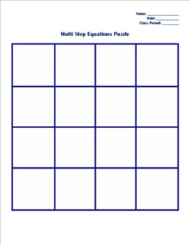 Multi Step Equations Square Puzzle Activity
