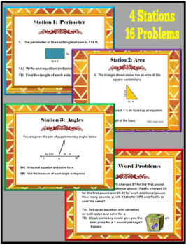 Multi-Step Equations Stations Task Cards