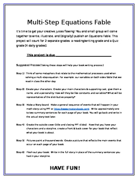 Multi-Step Equations Storybook Project