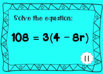 Multi-Step Equations Task Cards: Print and Digital Boom Cards