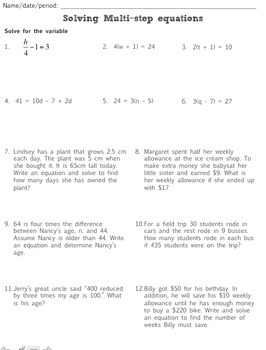 Multi-Step Equations:  Task Cards, Puzzle, and Assignment