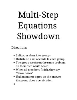 Multi Step Equations Task Cards - Showdown