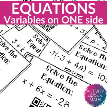 Multi-Step Equations Task Cards with QR Codes!