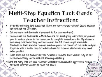 Multi-Step Equations Variables on ONE side Task Cards with QR Codes