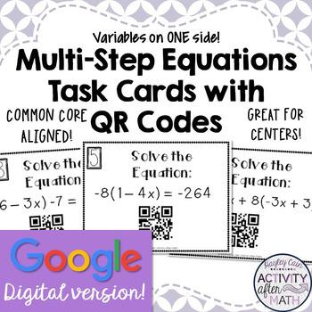 Multi-Step Equations Task Cards with QR Codes GOOGLE Slide