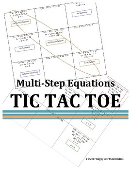 Multi-Step Equations Tic Tac Toe