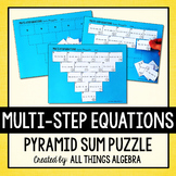 Multi-Step Equations Pyramid Sum Puzzle