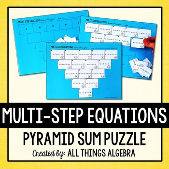 Multi-Step Equations Pyramid Sum Puzzle by All Things Algebra | TpT