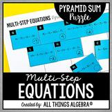 Multi-Step Equations Pyramid Sum Puzzle