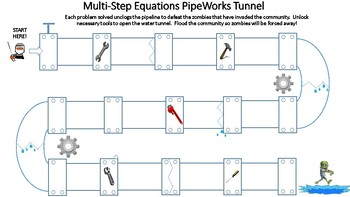 Multi-Step Equations Tunnel (Zombies)
