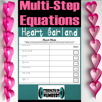 Multi-Step Equations Valentine's Day Self Checking Heart Garland Chain