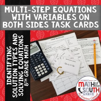 Multi Step Equations Variables on Both Sides TASK CARDS Identify Solution Types