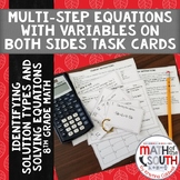 Multi Step Equations Variables on Both Sides TASK CARDS Id