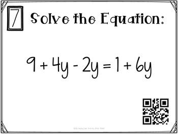 Multi-Step Equations Variables on Both Sides Task Cards GOOGLE Slide Version