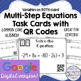 Multi-Step Equations Variables on Both Sides Task Cards GO
