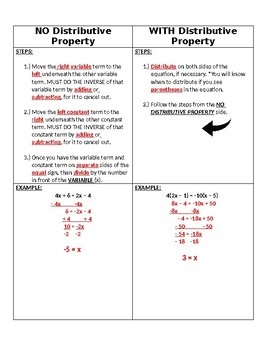 Multi-Step Equations (Variables on Both Sides) with Special Solutions NOTES