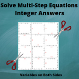 Equations Puzzle : Multi-Step : Variables on Both sides: Integer Answers