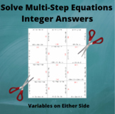 Multi-Step Equations Puzzle : Variables on Either side: Integer Answers
