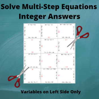 Multi-Step Equations Puzzle : Variables on Left side: Integer Answers