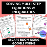 Multi-Step Equations Inequalities Escape Room Google Forms