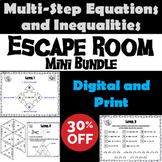 Multi-Step Equations and Inequalities Game: Escape Room Math Mini-Bundle