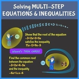 Multi – Step Equations and Inequalities - Wizard's TASK CARDS - 3 types problems