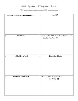 Multi-Step Equations quiz
