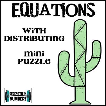 Multi-Step Equations w/ Distributive Property Cactus Mini-Puzzle