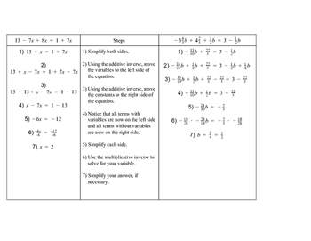 Multi-Step Equations w/ Variables on Both Sides