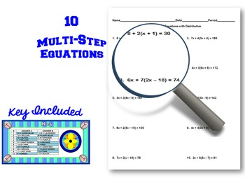 Multi-Step Equations with Distributive Coloring Activity