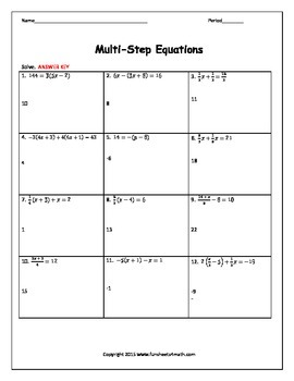 Solving Equations:  Multi-Step Equations with Fractions Riddle
