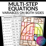 Multi-Step Equations with Variables on Both Sides Color By Number