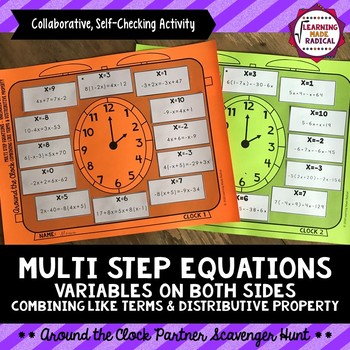 Multi Step Equations with Variables on Both Sides Partner Scavenger Hunt