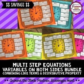 Multi Step Equations with Variables on Both Sides Partner Scavenger Hunt BUNDLE