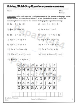 Multi-Step Equations with Variables on Both Sides Worksheet