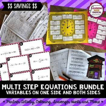 Multi Step Equations with Variables on ONE Side and BOTH Sides Bundle