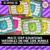 Multi Step Equations with Variables on One Side Partner Scavenger Hunt BUNDLE