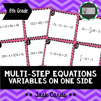 Multi Step Equations with Variables on One Side Task Cards 8.EE.C.7