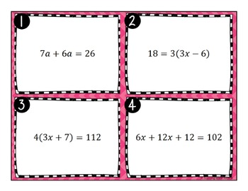 Multi Step Equations with Variables on One Side Task Cards