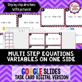 Multi Step Equations with Variables on One Side Task Cards GOOGLE Slides