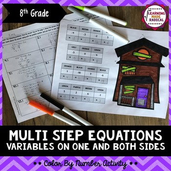 Halloween Multi Step Equations w/Variables on One and Both Sides Coloring