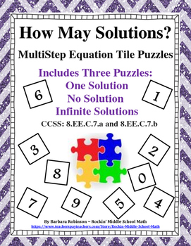 How Many Solutions? Multi-step Equation Tile Puzzles  8.EE