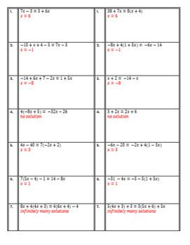 Multi-Step Equations with variables on both sides Partner Worksheet