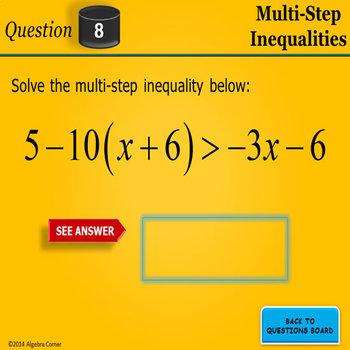 Multi-Step Inequalities BINGO