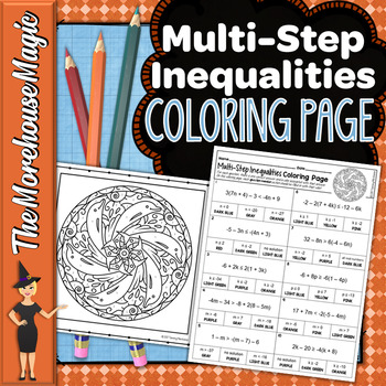 MULTI STEP INEQUALITIES MATH COLOR BY NUMBER, QUIZ